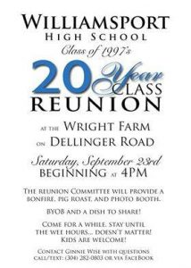 Williamsport High School Re-Union Flyer