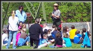 kids listening to the park ranger/tour guide