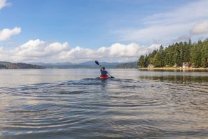 kayaker on water with scenic background