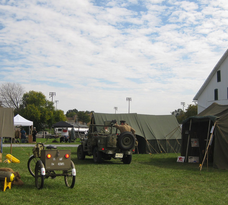 Military jeep at WWII days