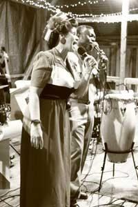 Vintage photo of woman singing